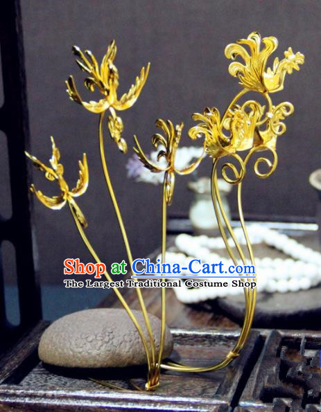 Ancient Chinese Jin Dynasty Princess Golden Birds Hairpins Traditional Hanfu Court Hair Accessories for Women