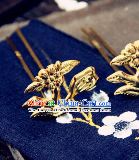 Ancient Chinese Ming Dynasty Princess Golden Hairpins Traditional Hanfu Court Hair Accessories for Women