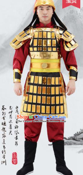 Traditional Chinese Ancient Drama Costumes Chinese Ming Dynasty Warrior Helmet and Armour for Men