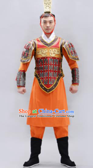 Traditional Chinese Qin Dynasty Warrior Orange Helmet and Armour Ancient Drama General Costumes for Men