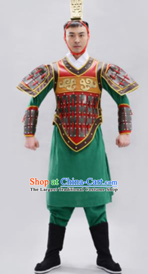 Traditional Chinese Qin Dynasty Warrior Green Helmet and Armour Ancient Drama General Costumes for Men
