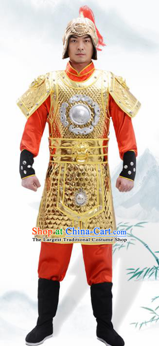 Traditional Chinese Han Dynasty Warrior Golden Helmet and Armour Ancient Drama General Costumes for Men