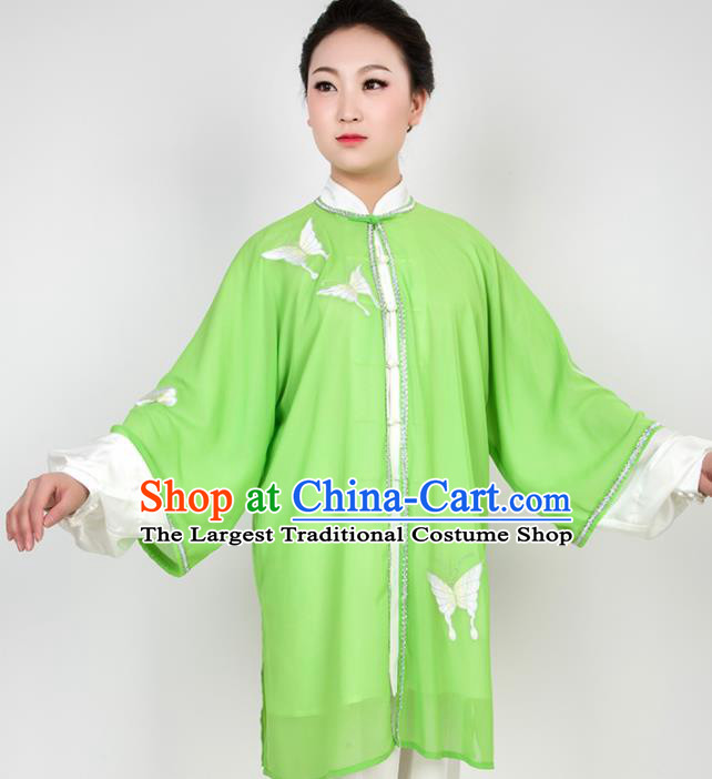 Chinese Traditional Martial Arts Embroidered Butterfly Green Costume Best Kung Fu Competition Tai Chi Training Clothing for Women