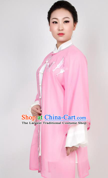 Chinese Traditional Martial Arts Embroidered Butterfly Pink Costume Best Kung Fu Competition Tai Chi Training Clothing for Women