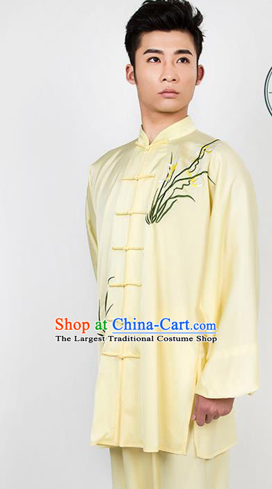 Chinese Traditional Martial Arts Competition Embroidered Orchid Yellow Costume Kung Fu Tai Chi Training Clothing for Men