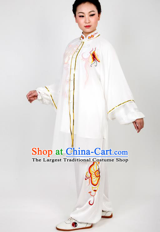 Chinese Traditional Martial Arts Embroidered Butterfly Costume Best Kung Fu Competition Tai Chi Training Clothing for Women