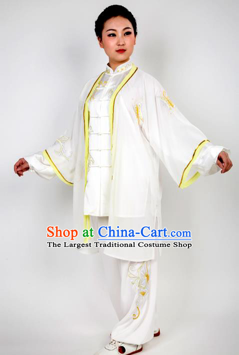Chinese Traditional Martial Arts Embroidered Yellow Butterfly Costume Best Kung Fu Competition Tai Chi Training Clothing for Women