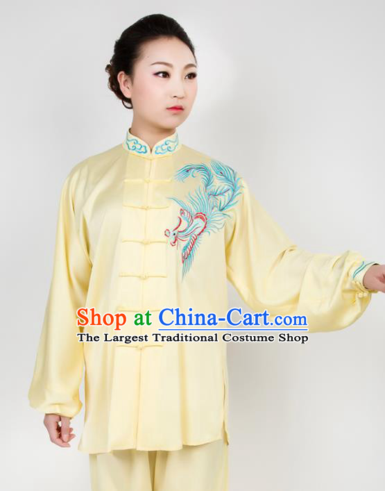 Chinese Traditional Martial Arts Embroidered Phoenix Yellow Costume Best Kung Fu Competition Tai Chi Training Clothing for Women