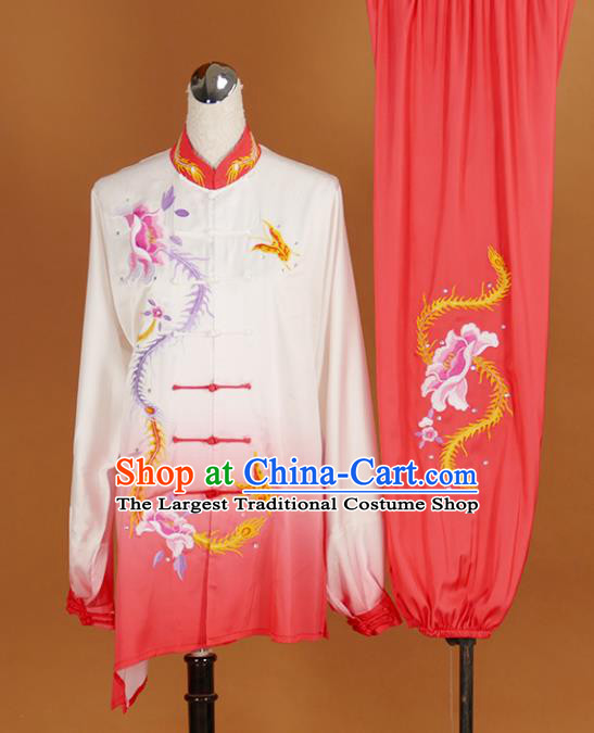 Chinese Traditional Best Martial Arts Embroidered Phoenix Peony Costume Kung Fu Competition Tai Chi Clothing for Women
