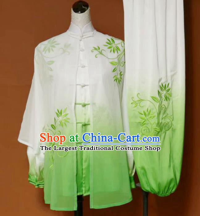 Chinese Traditional Best Martial Arts Embroidered Green Costume Kung Fu Competition Tai Chi Clothing for Women