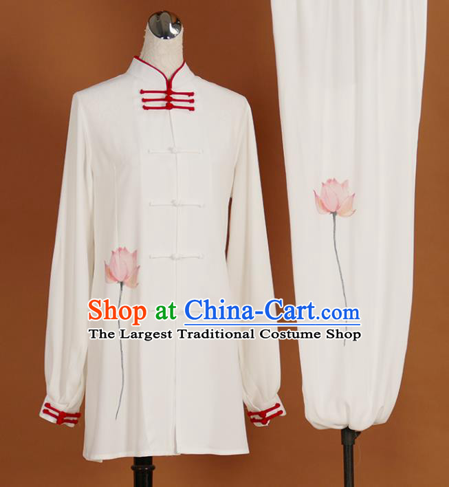 Chinese Traditional Best Martial Arts Printing Lotus Costume Kung Fu Competition Tai Chi Clothing for Women