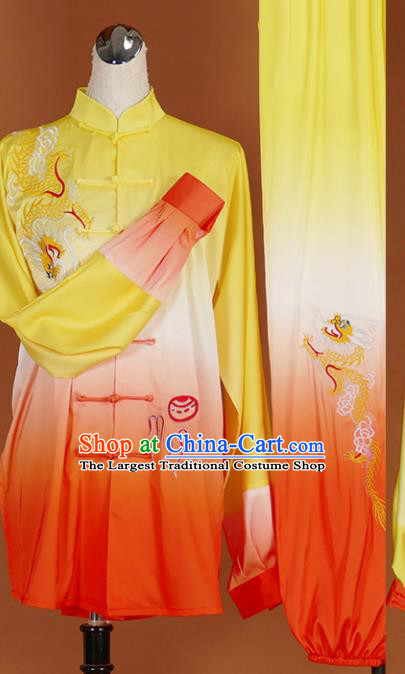 Chinese Traditional Martial Arts Competition Embroidered Dragon Orange Costume Kung Fu Tai Chi Training Clothing for Men