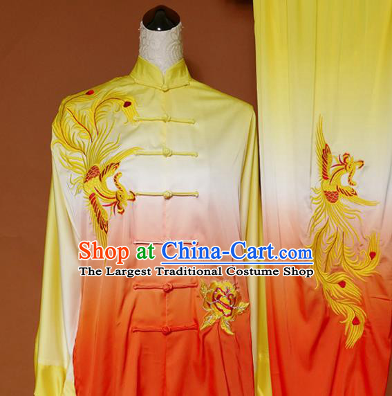 Chinese Traditional Best Martial Arts Embroidered Phoenix Orange Costume Kung Fu Competition Tai Chi Clothing for Women