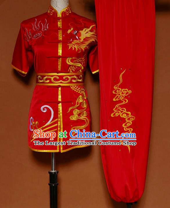 Chinese Traditional Martial Arts Competition Embroidered Dragon Red Costume Kung Fu Tai Chi Training Clothing for Men