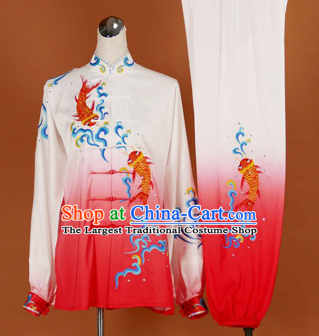 Chinese Traditional Best Martial Arts Embroidered Carp Rosy Costume Kung Fu Competition Tai Chi Clothing for Women