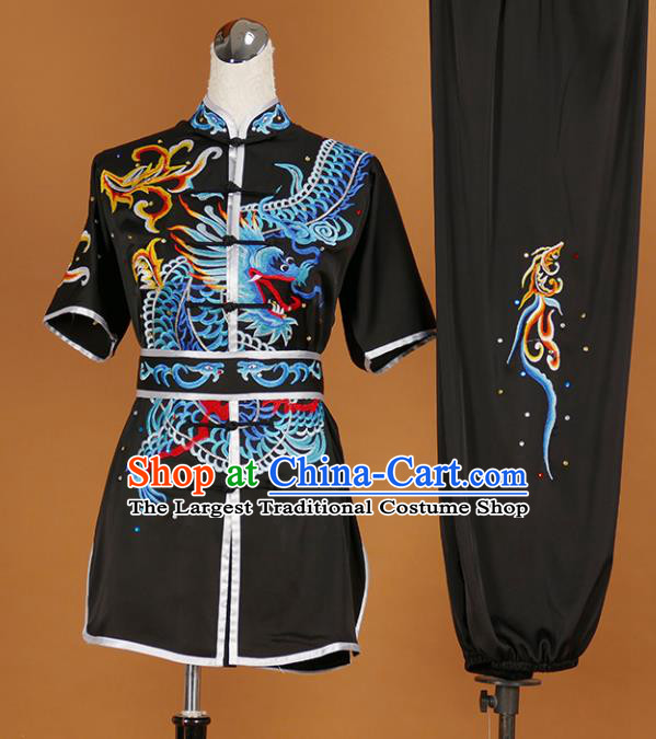 Chinese Traditional Martial Arts Competition Embroidered Dragon Black Costume Kung Fu Tai Chi Training Clothing for Men