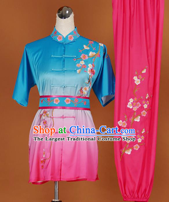 Chinese Traditional Best Martial Arts Embroidered Plum Blue Costume Kung Fu Competition Tai Chi Clothing for Women