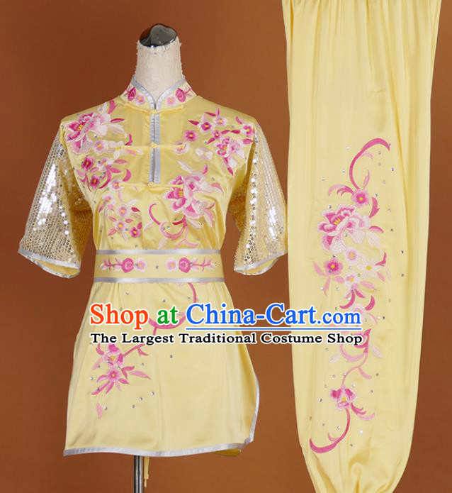 Chinese Traditional Best Martial Arts Embroidered Peony Yellow Costume Kung Fu Competition Tai Chi Clothing for Women