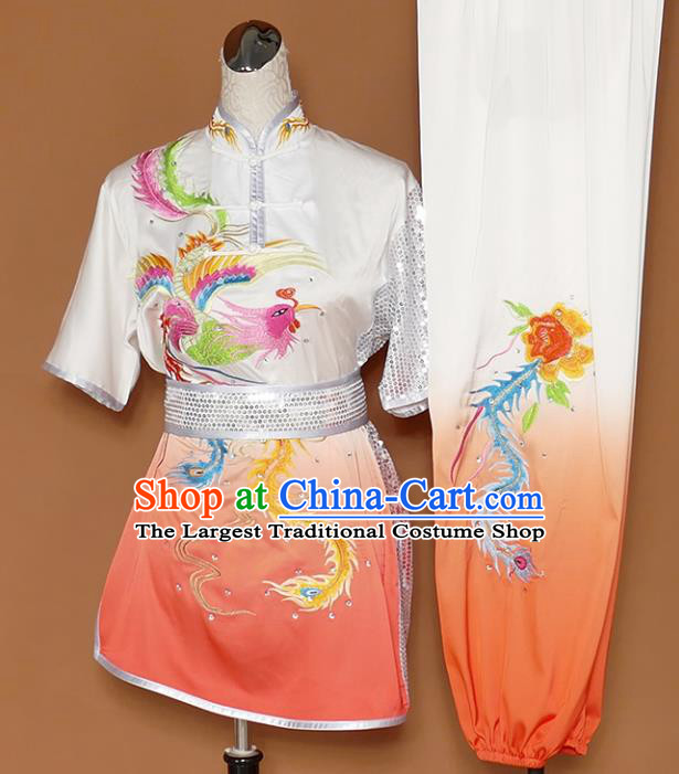 Chinese Traditional Best Martial Arts Embroidered Phoenix Peony Orange Costume Kung Fu Competition Tai Chi Clothing for Women