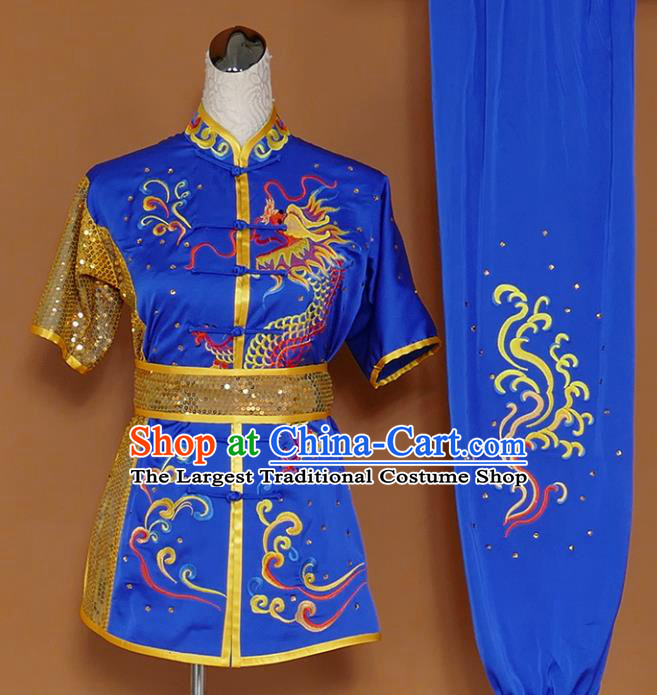 Best Martial Arts Competition Embroidered Dragon Royalblue Uniforms Chinese Traditional Kung Fu Tai Chi Training Costume for Men