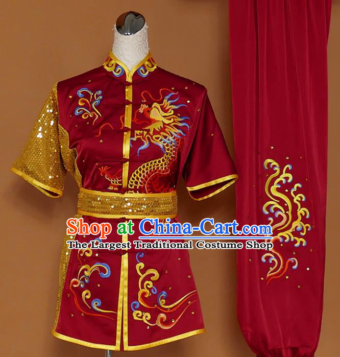 Best Martial Arts Competition Embroidered Dragon Wine Red Uniforms Chinese Traditional Kung Fu Tai Chi Training Costume for Men