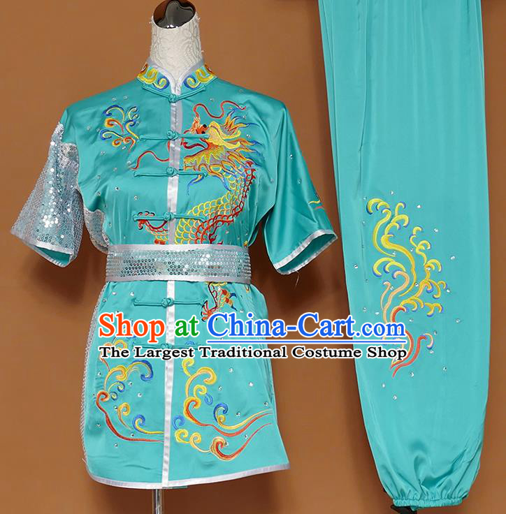 Best Martial Arts Competition Embroidered Dragon Green Uniforms Chinese Traditional Kung Fu Tai Chi Training Costume for Men
