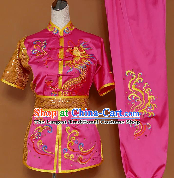 Best Martial Arts Competition Embroidered Dragon Rosy Uniforms Chinese Traditional Kung Fu Tai Chi Training Costume for Men