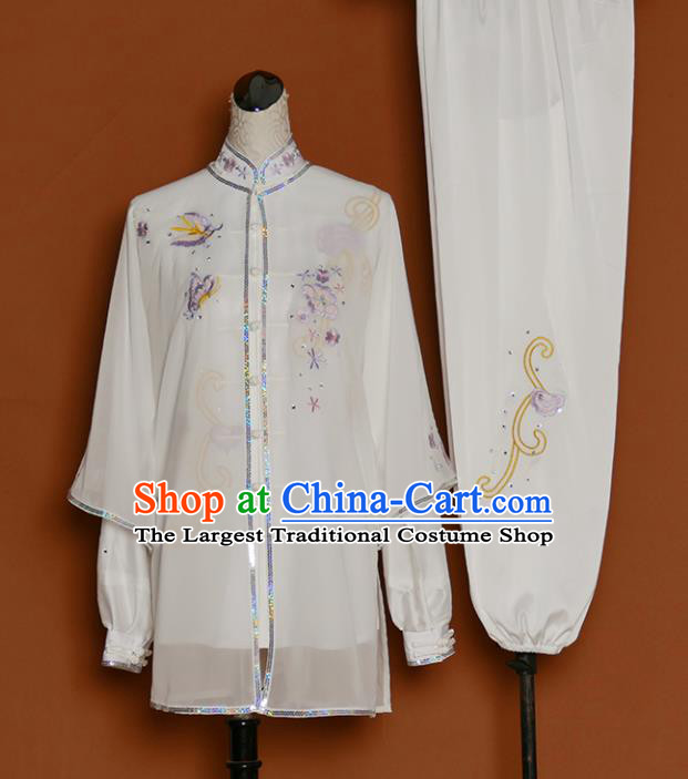 Chinese Traditional Best Martial Arts Embroidered Butterfly Costume Kung Fu Competition Tai Chi Clothing for Women
