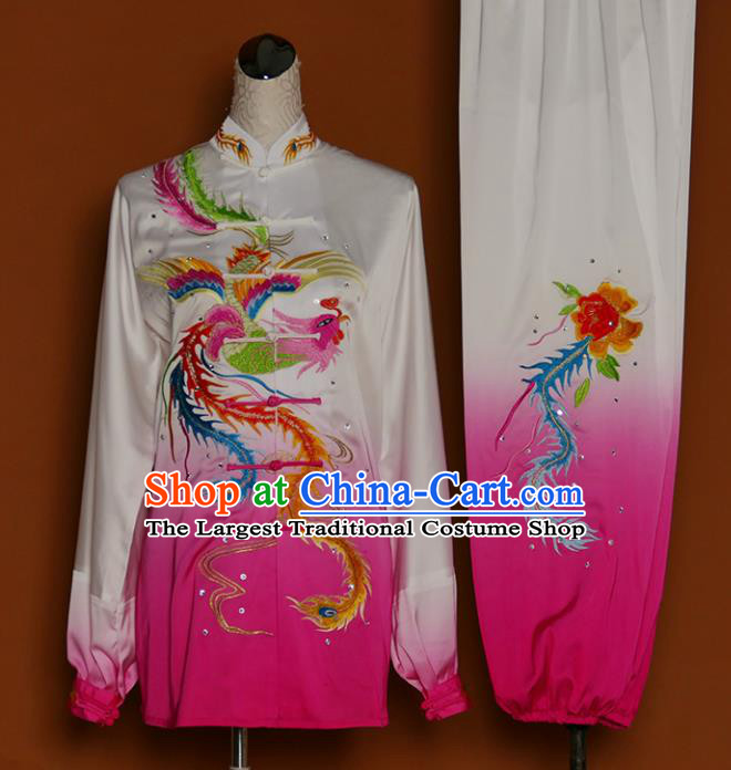 Chinese Traditional Best Martial Arts Embroidered Phoenix Peony Rosy Costume Kung Fu Competition Tai Chi Clothing for Women