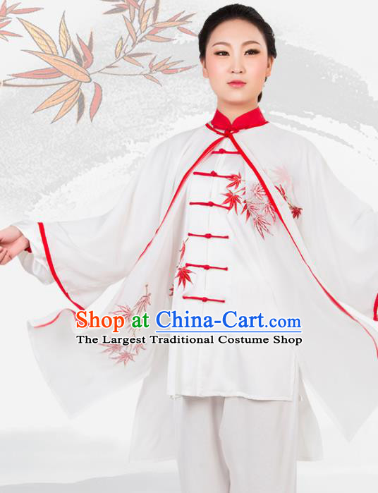 Chinese Traditional Martial Arts Embroidered White Costume Best Kung Fu Competition Tai Chi Training Clothing for Women