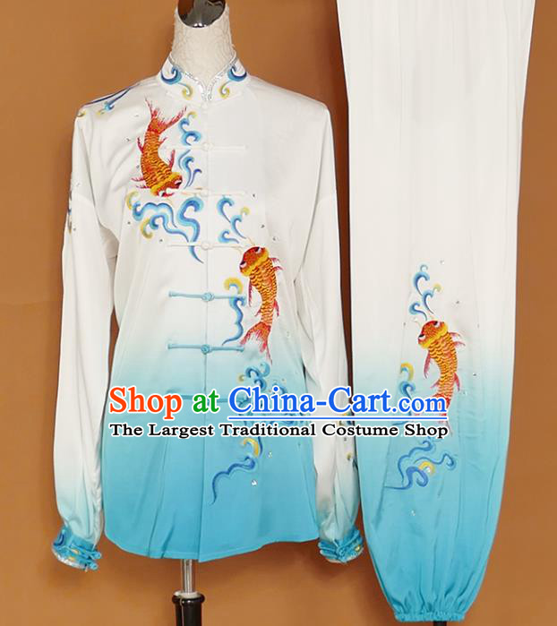Chinese Traditional Best Martial Arts Embroidered Carp Blue Costume Kung Fu Competition Tai Chi Clothing for Women