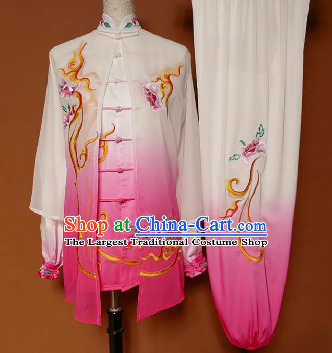 Chinese Traditional Best Martial Arts Embroidered Peony Rosy Costume Kung Fu Competition Tai Chi Clothing for Women