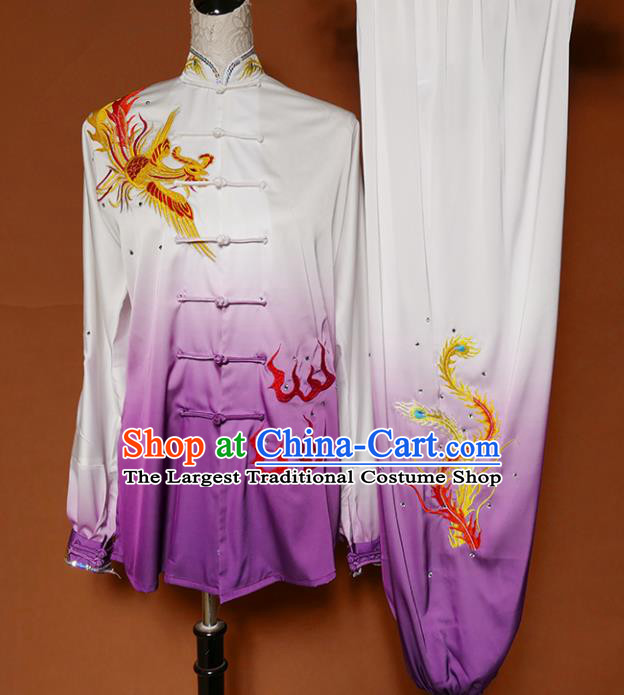 Chinese Traditional Best Martial Arts Embroidered Phoenix Purple Costume Kung Fu Competition Tai Chi Clothing for Women