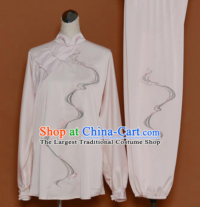 Chinese Traditional Best Martial Arts Printing Light Pink Costume Kung Fu Competition Tai Chi Clothing for Women