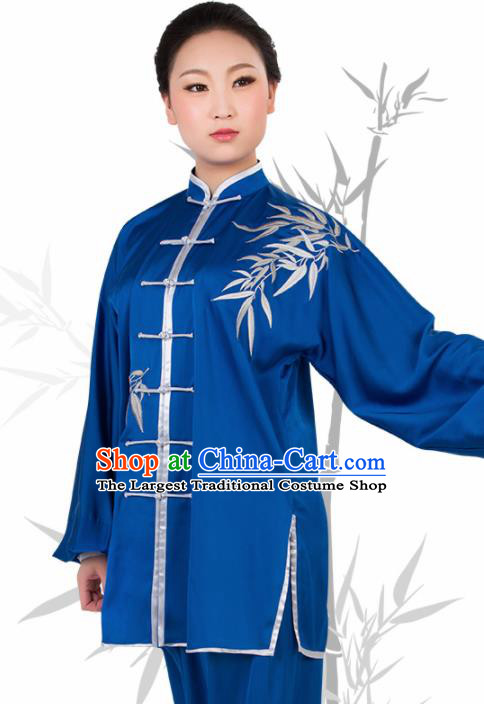 Chinese Traditional Martial Arts Embroidered Bamboo Blue Costume Best Kung Fu Competition Tai Chi Training Clothing for Women