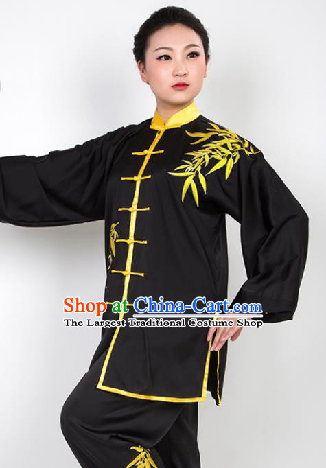 Chinese Traditional Martial Arts Embroidered Bamboo Black Costume Best Kung Fu Competition Tai Chi Training Clothing for Women