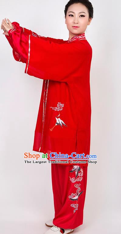 Chinese Traditional Martial Arts Embroidered Crane Red Costume Best Kung Fu Competition Tai Chi Training Clothing for Women