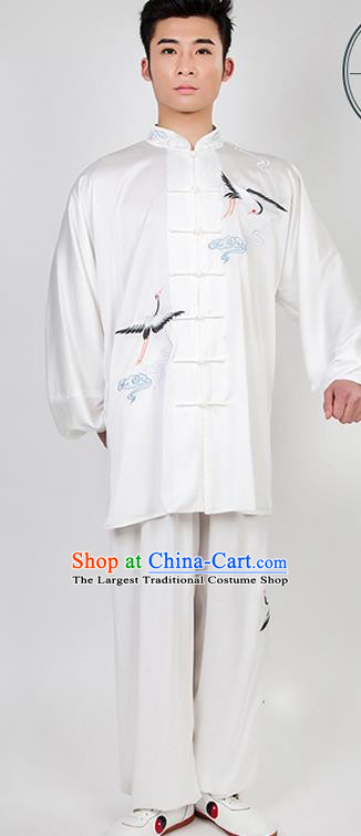 Chinese Traditional Martial Arts Competition Embroidered Crane White Costume Kung Fu Tai Chi Training Clothing for Men