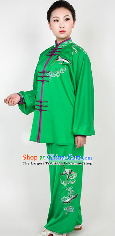 Chinese Traditional Martial Arts Embroidered Crane Green Costume Best Kung Fu Competition Tai Chi Training Clothing for Women