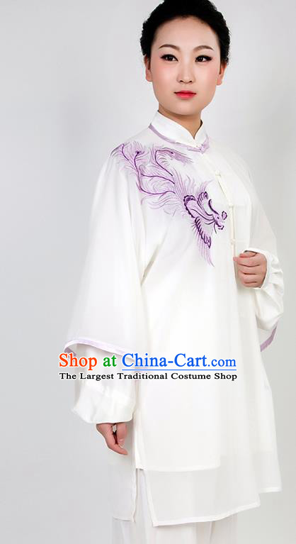 Chinese Traditional Martial Arts Embroidered Phoenix White Costume Best Kung Fu Competition Tai Chi Training Clothing for Women