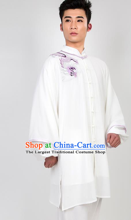 Chinese Traditional Martial Arts Competition Embroidered Dragon White Costume Kung Fu Tai Chi Training Clothing for Men