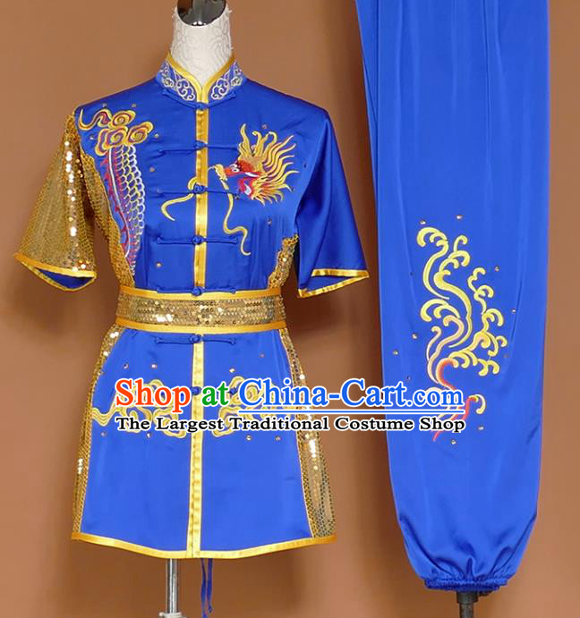 Royalblue Best Martial Arts Competition Embroidered Dragon Uniforms Chinese Traditional Kung Fu Tai Chi Training Costume for Men