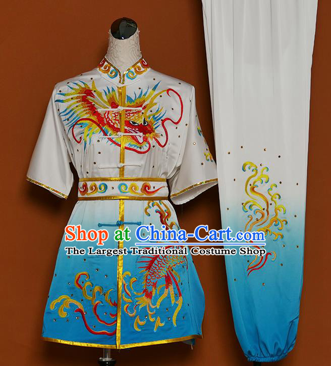 Chinese Martial Arts Competition Embroidered Dragon Blue Uniforms Traditional Kung Fu Tai Chi Training Costume for Men