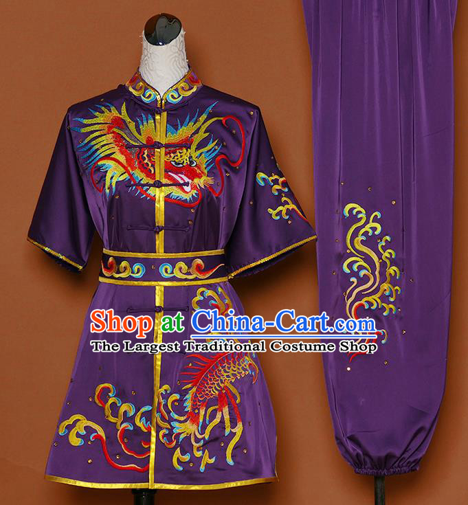 Chinese Martial Arts Competition Embroidered Dragon Purple Uniforms Traditional Kung Fu Tai Chi Training Costume for Men