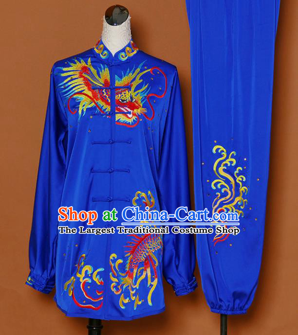 Chinese Martial Arts Competition Embroidered Dragon Royalblue Uniforms Traditional Kung Fu Tai Chi Training Costume for Men