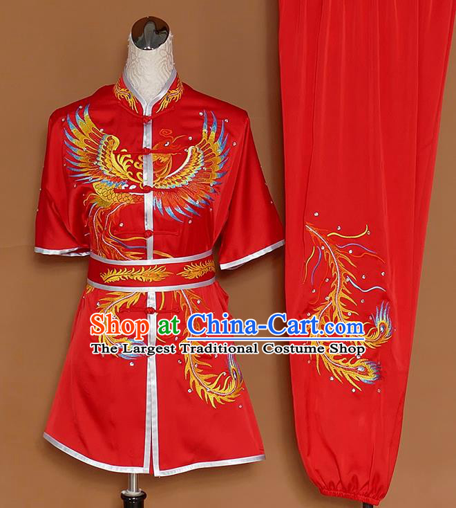Chinese Professional Martial Arts Embroidered Phoenix Red Costume Traditional Kung Fu Competition Tai Chi Clothing for Women
