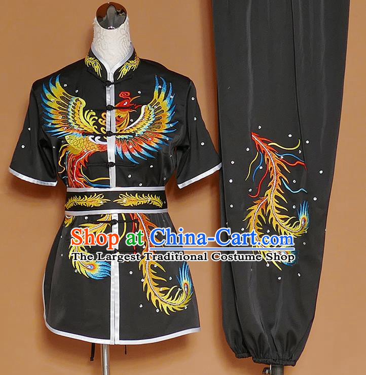 Chinese Professional Martial Arts Embroidered Phoenix Black Costume Traditional Kung Fu Competition Tai Chi Clothing for Women