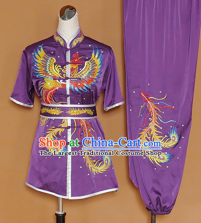 Chinese Professional Martial Arts Embroidered Phoenix Purple Costume Traditional Kung Fu Competition Tai Chi Clothing for Women