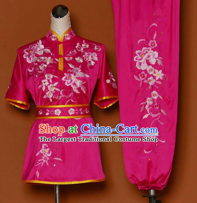 Chinese Professional Martial Arts Embroidered Peony Rosy Costume Traditional Kung Fu Competition Tai Chi Clothing for Women