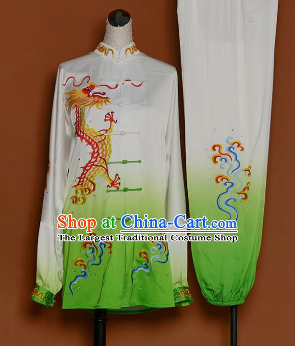 Green Best Martial Arts Competition Embroidered Dragon Uniforms Chinese Traditional Kung Fu Tai Chi Training Costume for Men